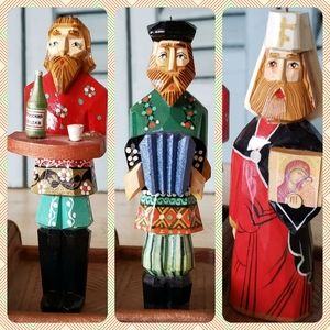 Three Wooden Russian Folk Art Figurines Ornaments